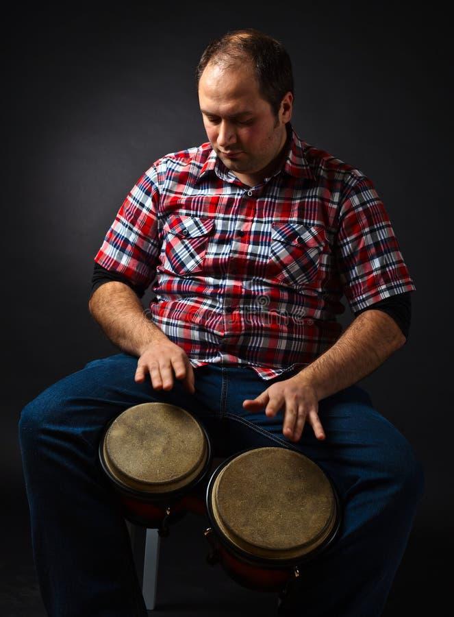 音乐家画象有小鼓的 库存图片