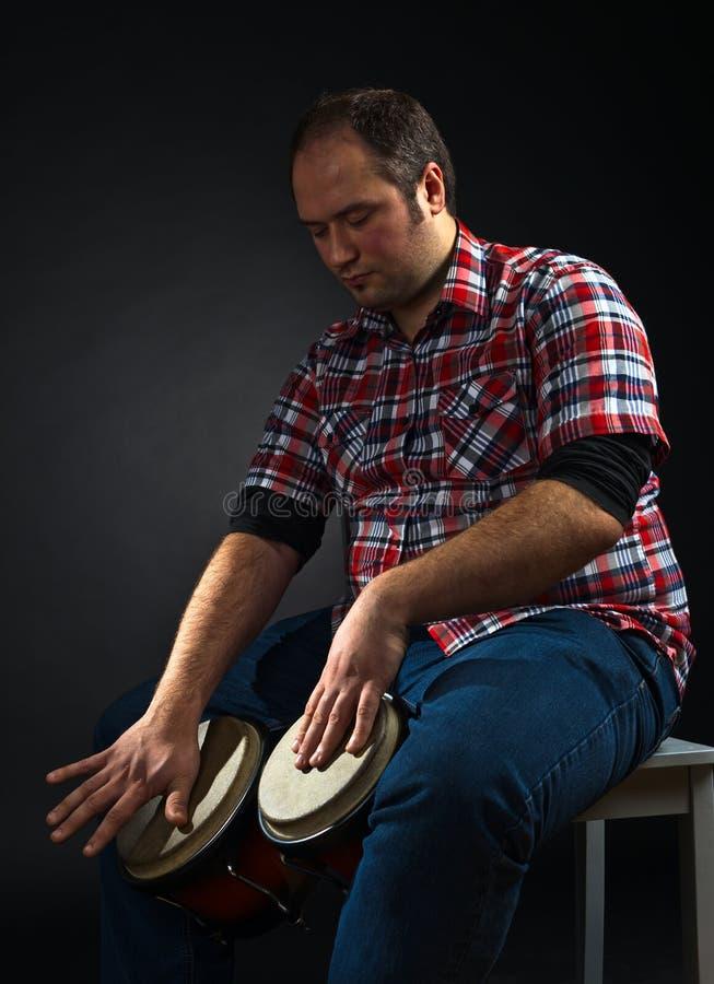 音乐家画象有小鼓的 库存照片