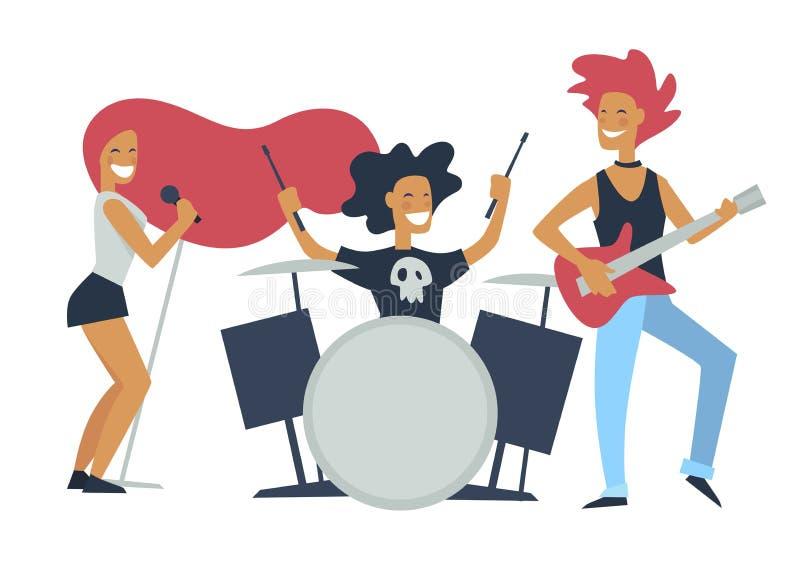 音乐带岩石风格,一起使用歌曲的人 向量例证