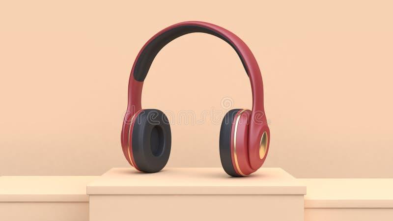 音乐技术概念3d翻译摘要奶油色场面红色金耳机 皇族释放例证