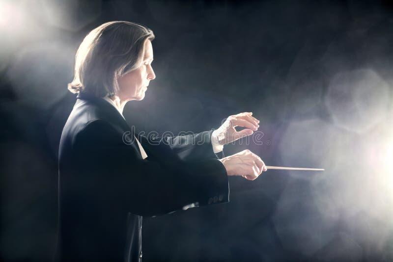 音乐指挥启发了艺术大师 库存照片