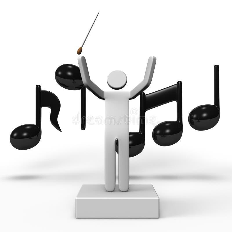 音乐指挥和音符 库存图片