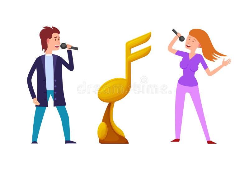 音乐挑战,在歌手之间的竞争授予 皇族释放例证