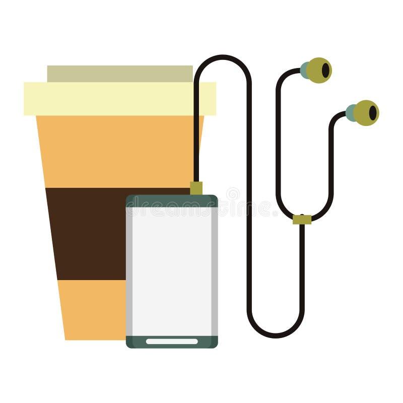 音乐播放器和咖啡杯 库存例证