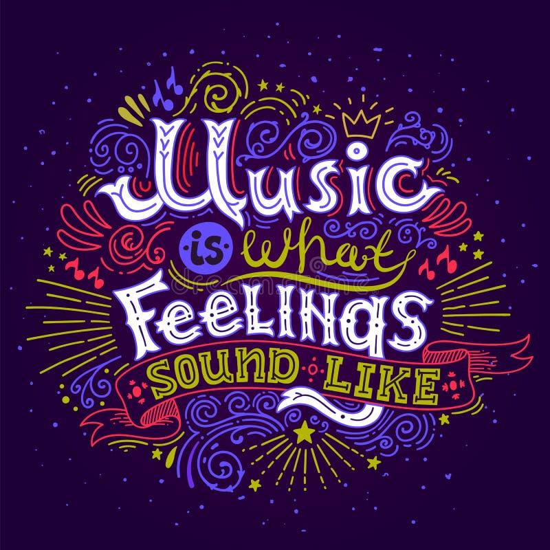 音乐是什么感觉听起来 激动人心的行情 与手字法的手拉的葡萄酒例证 这 向量例证
