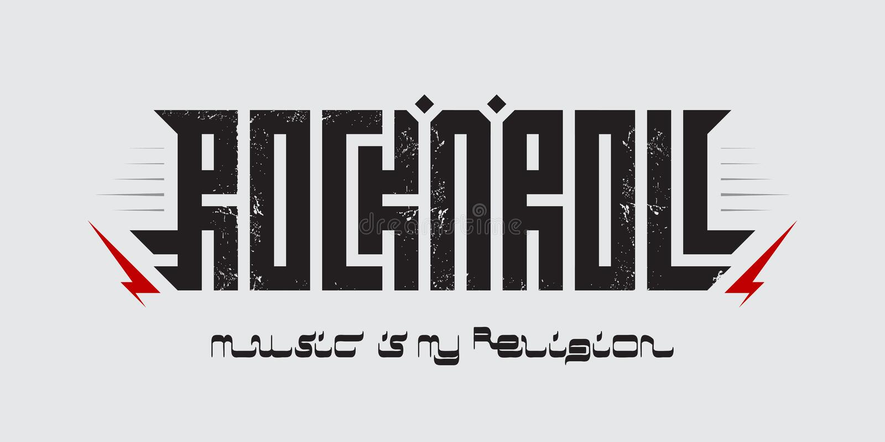 音乐是我的宗教- T恤杉服装打印,题字仿照阿拉伯剧本样式 摇滚乐-音乐海报与 向量例证