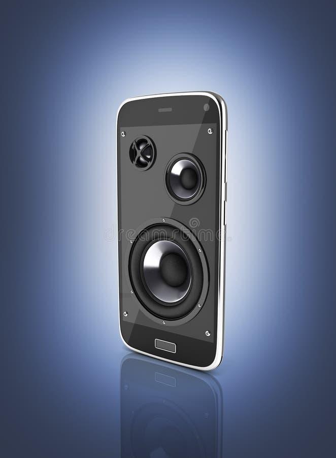 音乐智能手机手机音乐应用程序手机和扩音器在深蓝梯度背景3d 库存例证
