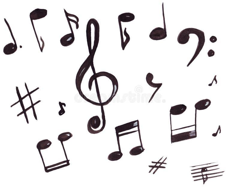 音乐标志、高音谱号和笔记的例证 库存照片