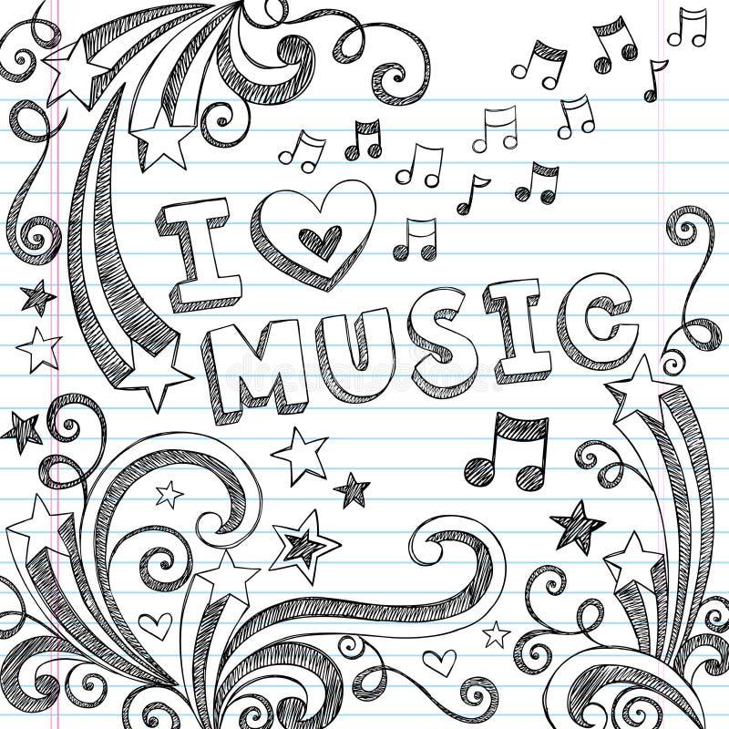 音乐概略笔记本乱画向量例证 向量例证