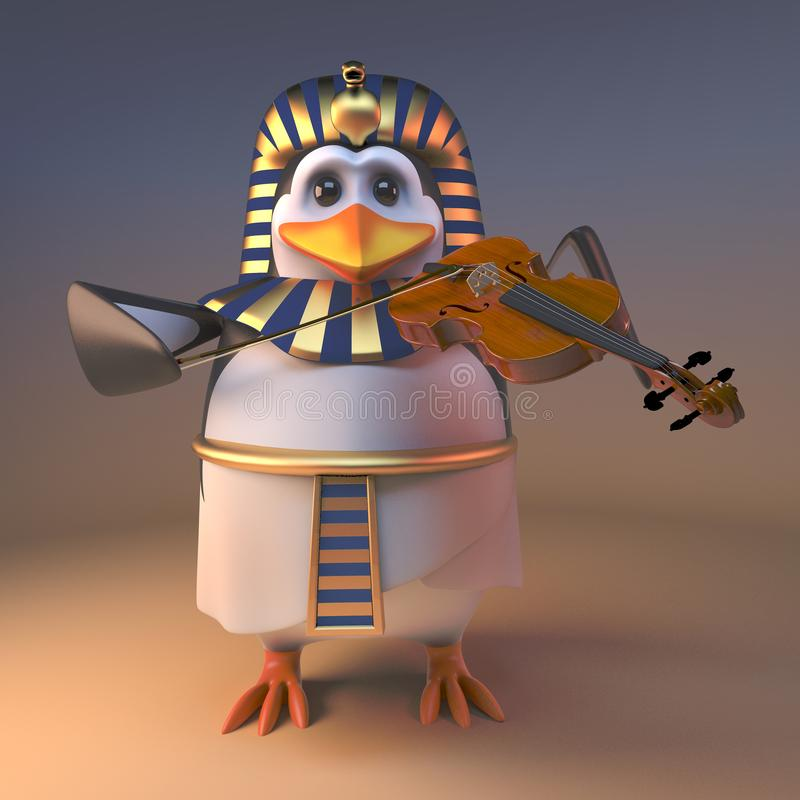 音乐法老王企鹅演奏在小提琴的Tutankhamun音乐,3d例证 库存例证