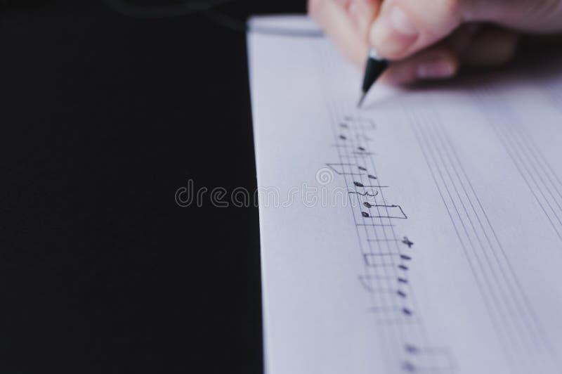 音乐注意创造音乐家艺术的文字作曲家 库存图片
