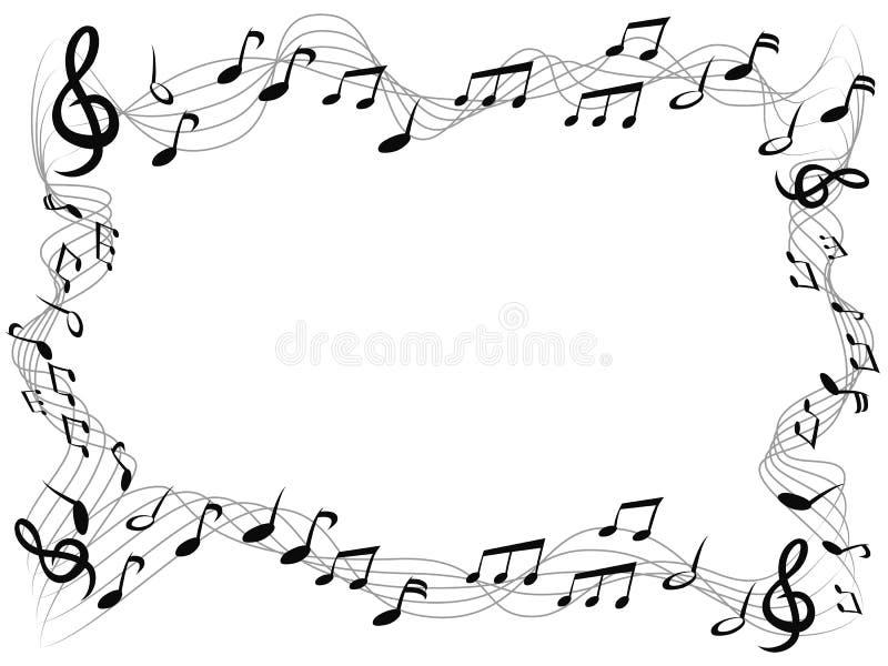 音乐注意方形的框架背景 库存例证