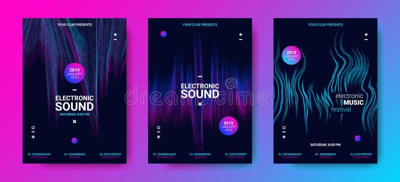 音乐海报设置与波浪线 向量例证