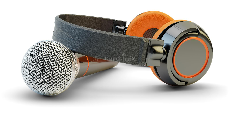 音乐演播室录音和活小河广播概念 向量例证