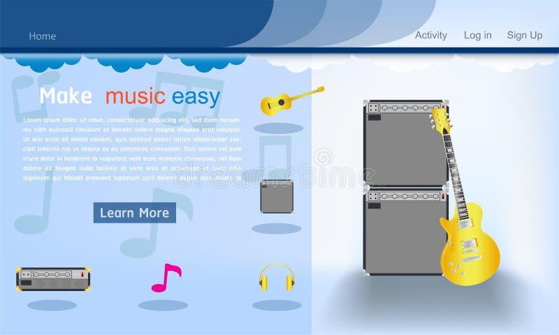 音乐演播室网站模板深蓝背景传染媒介例证eps10 向量例证