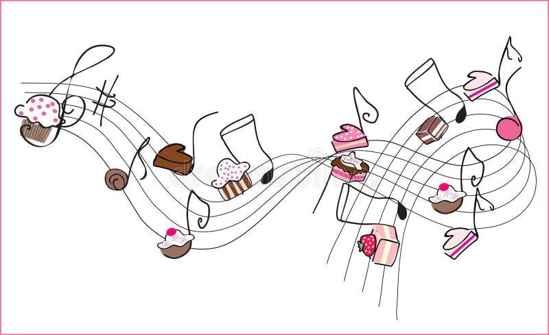 音乐甜点 向量例证