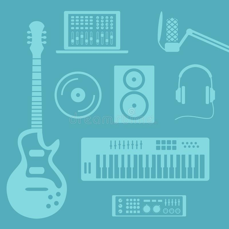 音乐生产 向量例证