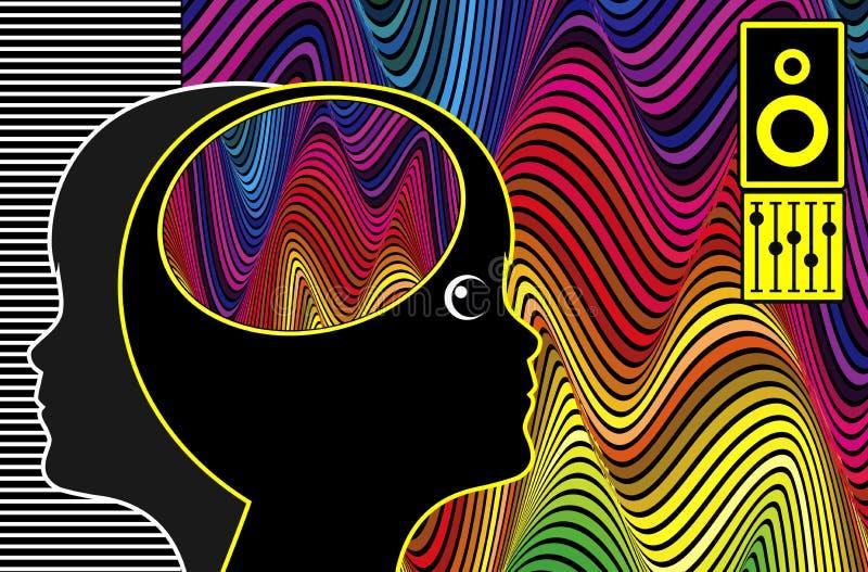 音乐疗法和孤独性 库存例证
