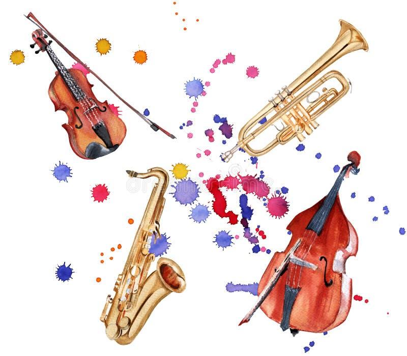 音乐的仪器 萨克斯管、低音提琴、小提琴和喇叭 背景查出的白色 皇族释放例证