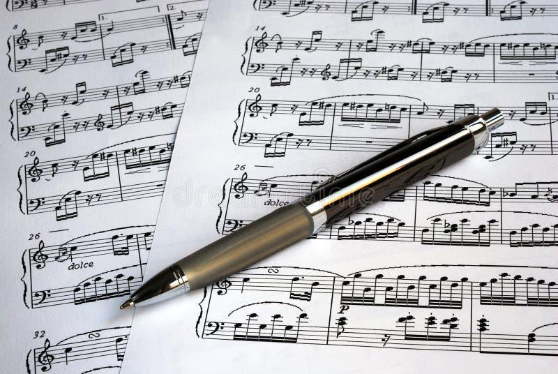 音乐笔覆盖顶层 库存照片