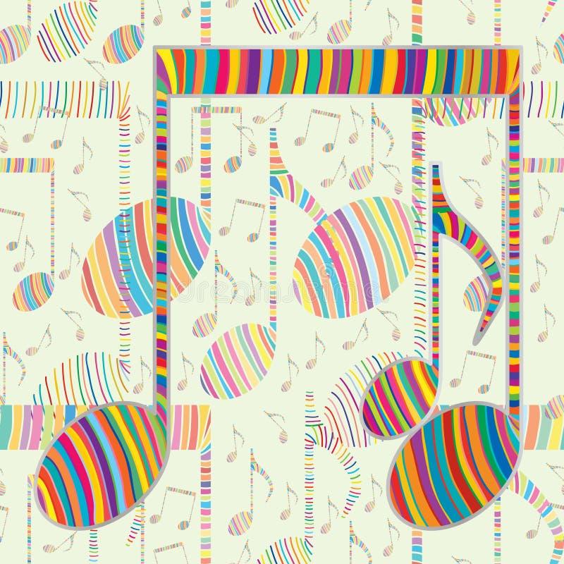 音乐笔记五颜六色的线无缝的样式 向量例证