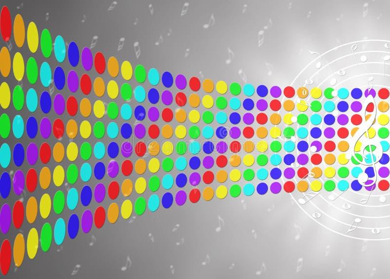 音乐笔记和彩虹颜色小点在被弄脏的灰色背景中 免版税图库摄影