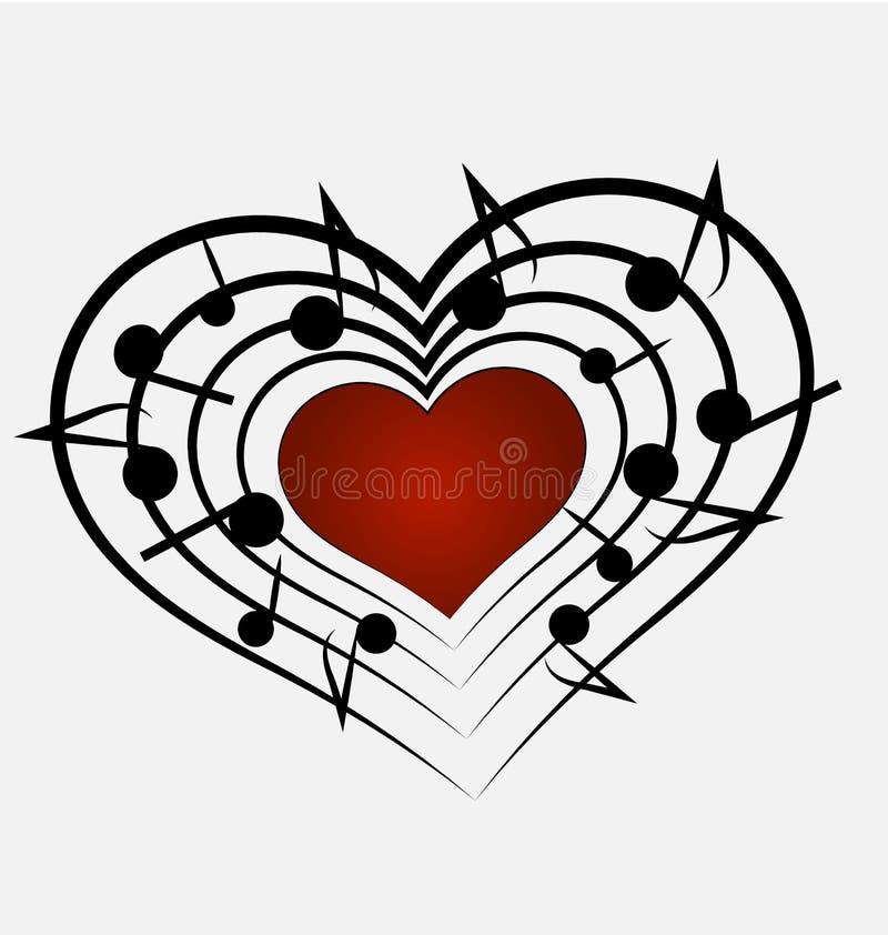 音乐笔记和心脏象 库存例证