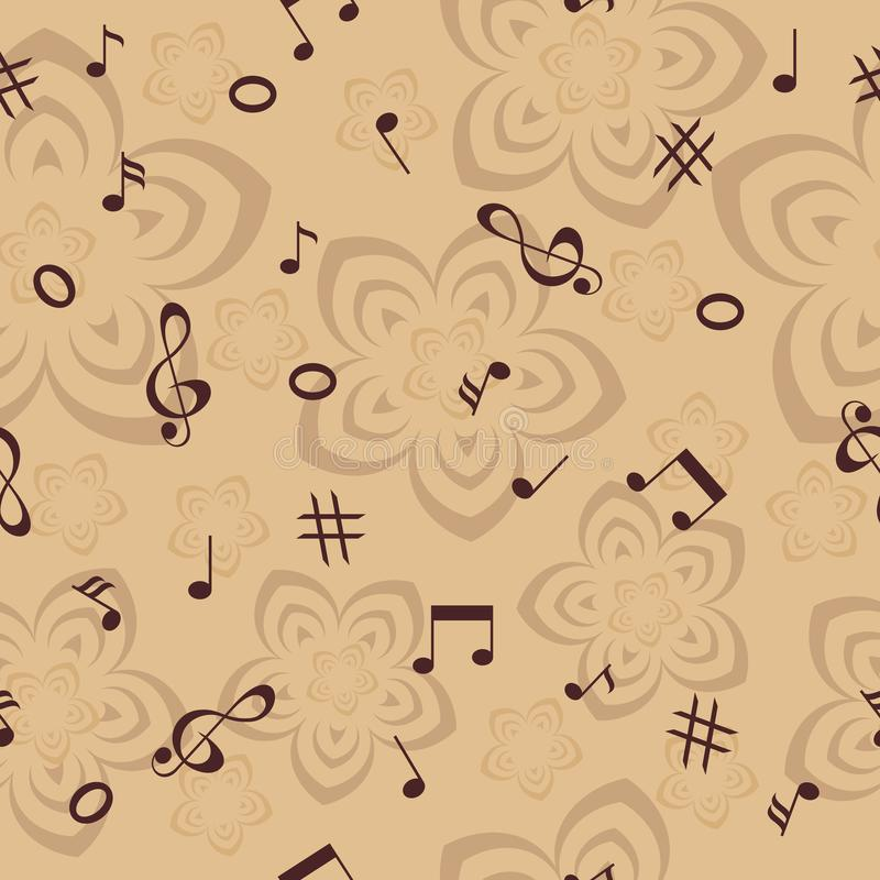 音乐笔记和花无缝的背景 库存照片
