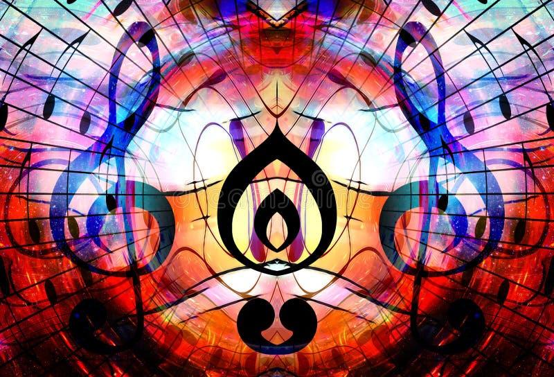 音乐笔记和谱号在空间与星 抽象背景颜色 概念电吉他例证音乐 库存例证