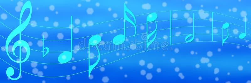 音乐笔记在蓝色横幅背景中 库存图片