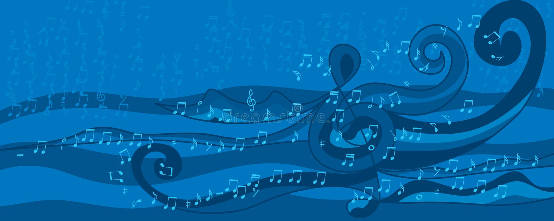 音乐笔记波浪样式蓝色横幅