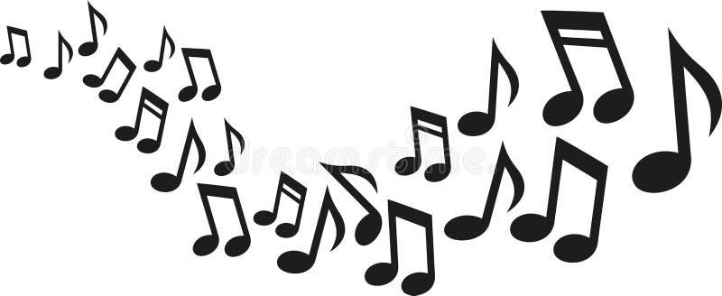 音乐笔记波浪 向量例证