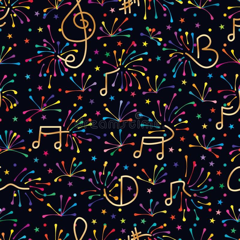 音乐笔记烟花五颜六色的无缝的样式 向量例证