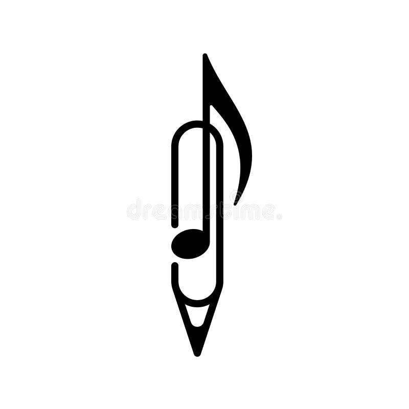 音乐笔记,笔,纸夹,被隔绝的例证 库存例证