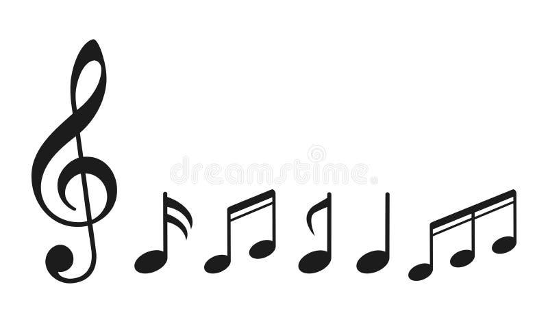 音乐笔记,编组音符-传染媒介 库存例证