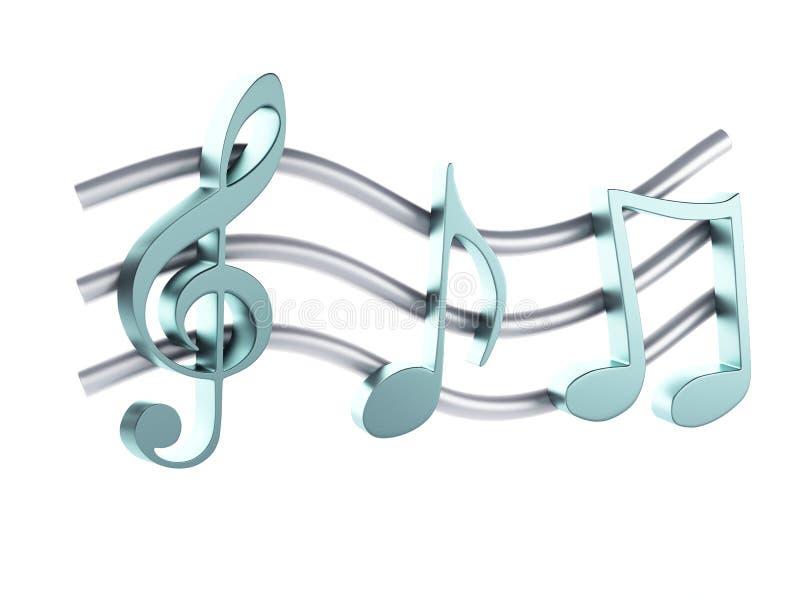 音乐笔记3D 背景查出的白色 库存例证