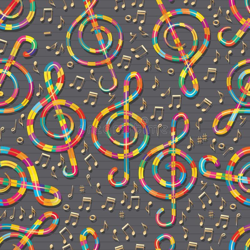 音乐糖五颜六色的金无缝的样式 库存例证