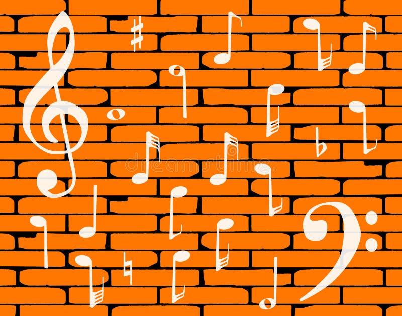 音乐红砖墙壁背景 皇族释放例证