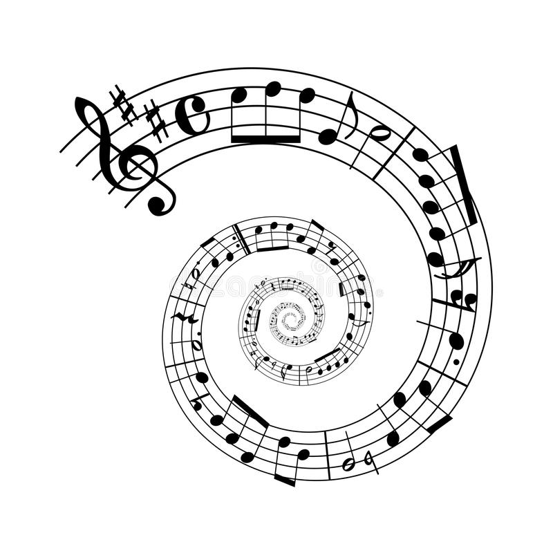音乐纸张螺旋 向量例证