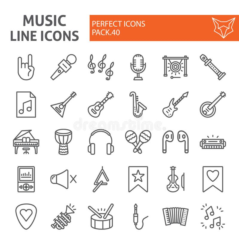 音乐线象集合,乐器标志汇集,传染媒介剪影,商标例证,音响器材标志 向量例证