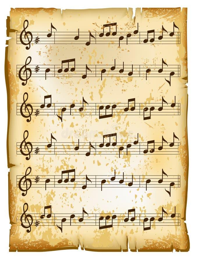 音乐老页 库存例证
