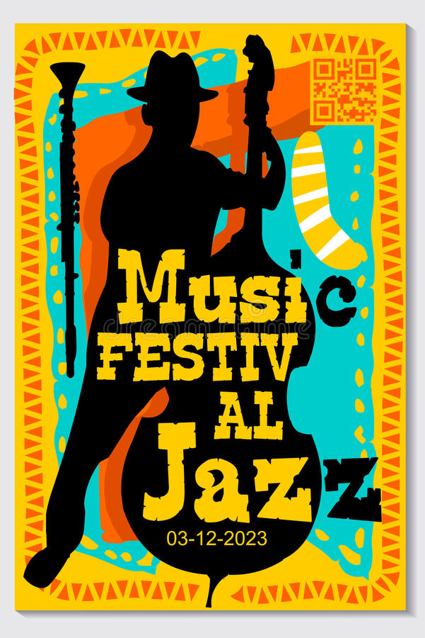 音乐节海报设计传染媒介爵士乐仪器 向量例证