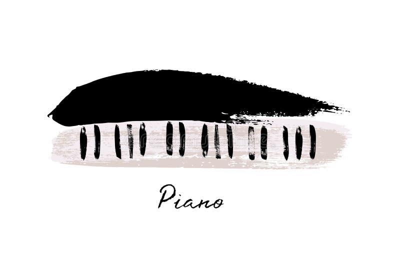 音乐节设计模板 传染媒介钢琴,绘与刷子冲程和爵士乐夜文本在白色背景 皇族释放例证