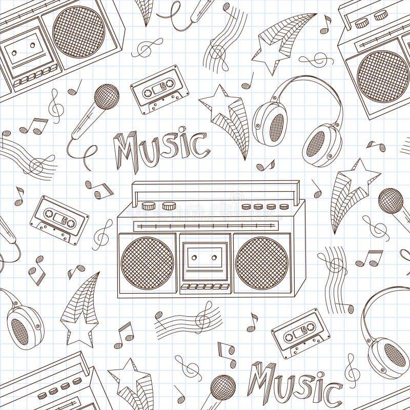 音乐设备的无缝的模式。 皇族释放例证