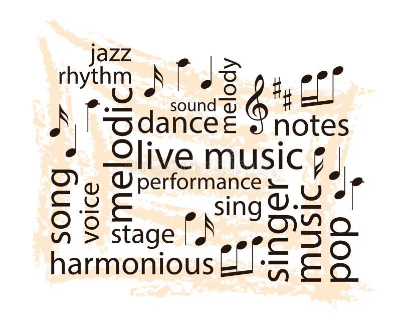 音乐词拼贴画-导航笔记和词在脏的背景 库存例证