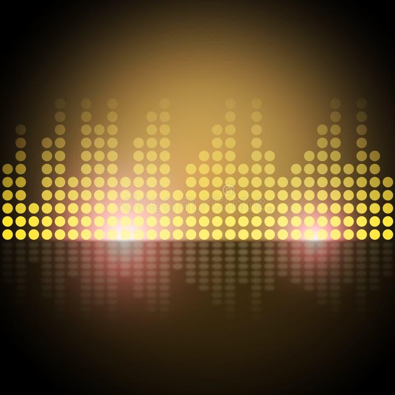音乐调平器背景显示频率计或声音Analyz 向量例证