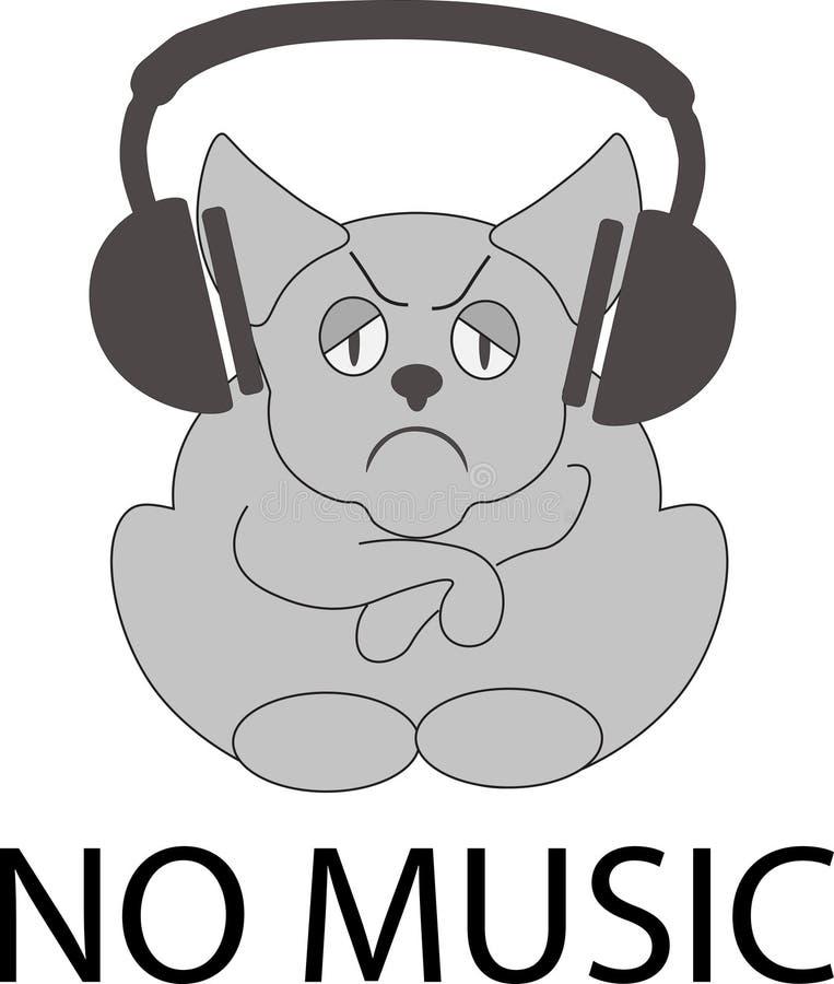 音乐象例证没有隔绝传染媒介与一个哀伤的动物的标志标志 皇族释放例证