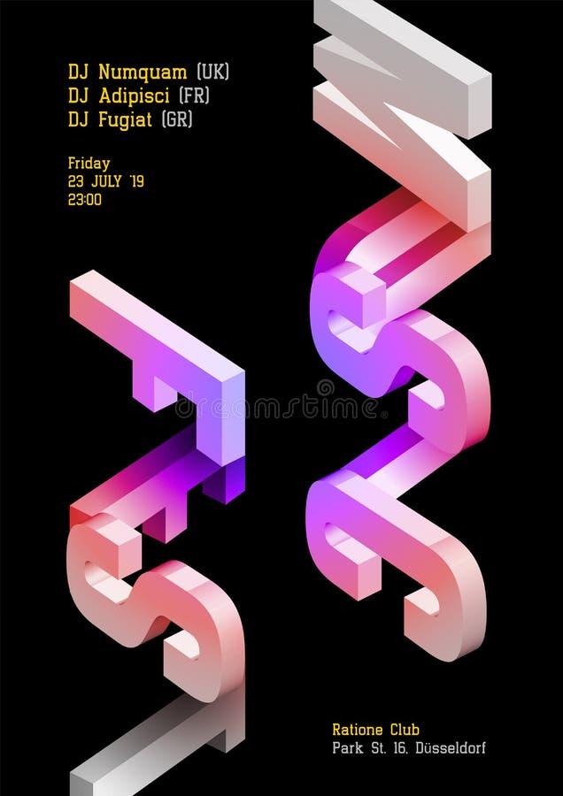 音乐费斯特传染媒介黑暗的海报 电子DJ音乐盖子 皇族释放例证