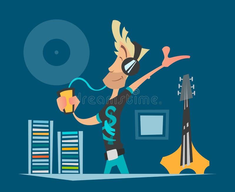 年轻音乐迷听的音乐 库存例证