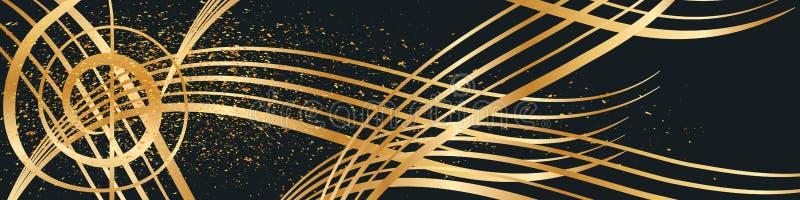 音乐金线金黄闪烁横幅 向量例证